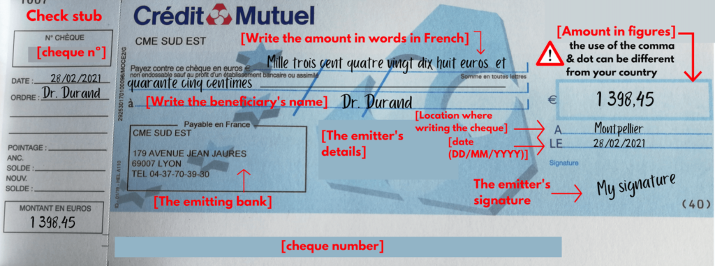 how to fill out a French cheque